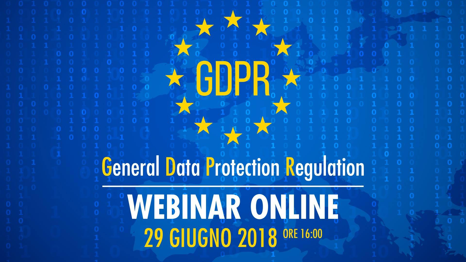 GDPR – Webinar gratuito 29 Giugno
